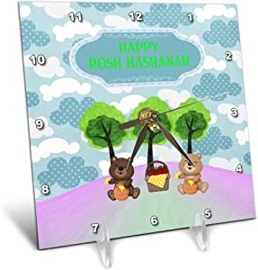 3dRose Image of Rosh Hashanah, Bears on Picnic with Honey and Apples - Desk Clocks (dc_329120_1)