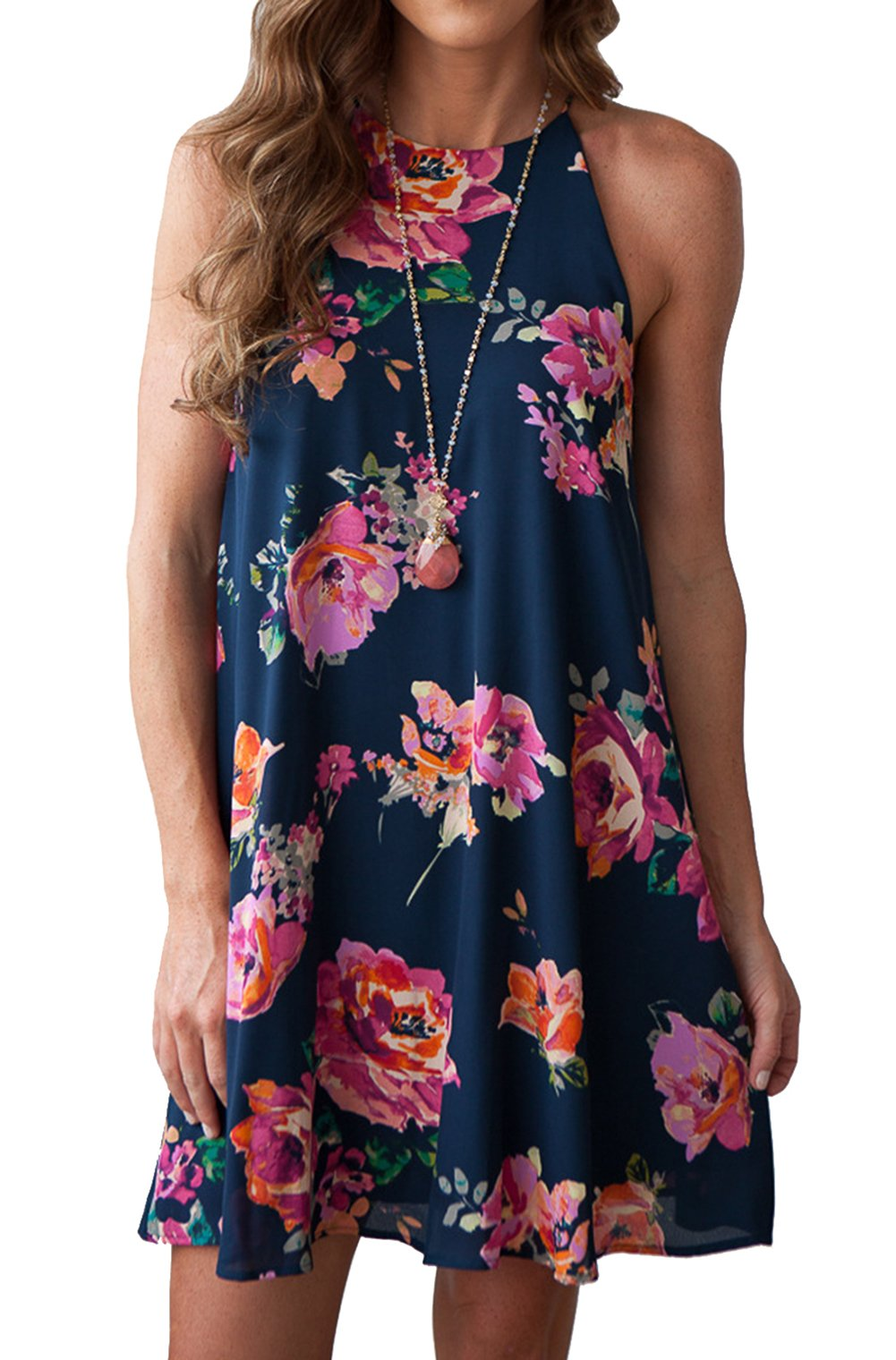 MITILLY Women's Halter Neck Boho Floral Print Chiffon Casual Sleeveless Short Dress Large Dark Blue