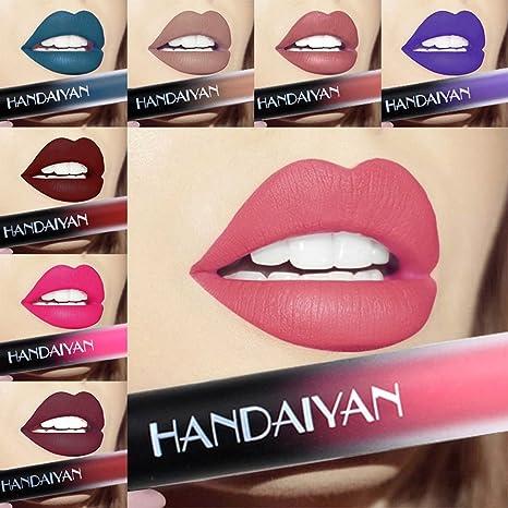 Anself 12 Farben Lippenstift Lipgloss Metallisch Nude Liquid