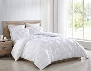 Chezmoi Collection Natalia 3-Piece Pom Pom Comforter Set,Soft Washed Microfiber Pinch Pleat Ball Fringe Bedding Set (Queen, White)