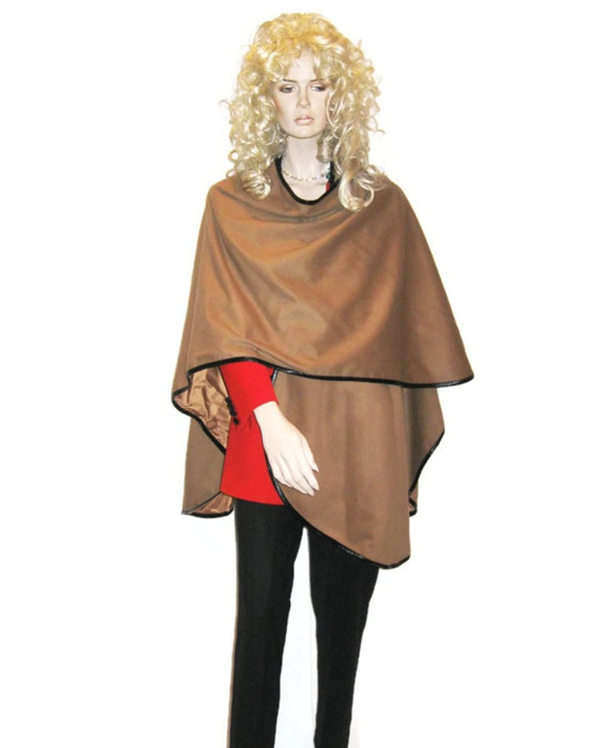 Cashmere Pashmina Group: Cashmere Cape in pure Cashmere with genuine Leather Trim & lining (Camel)