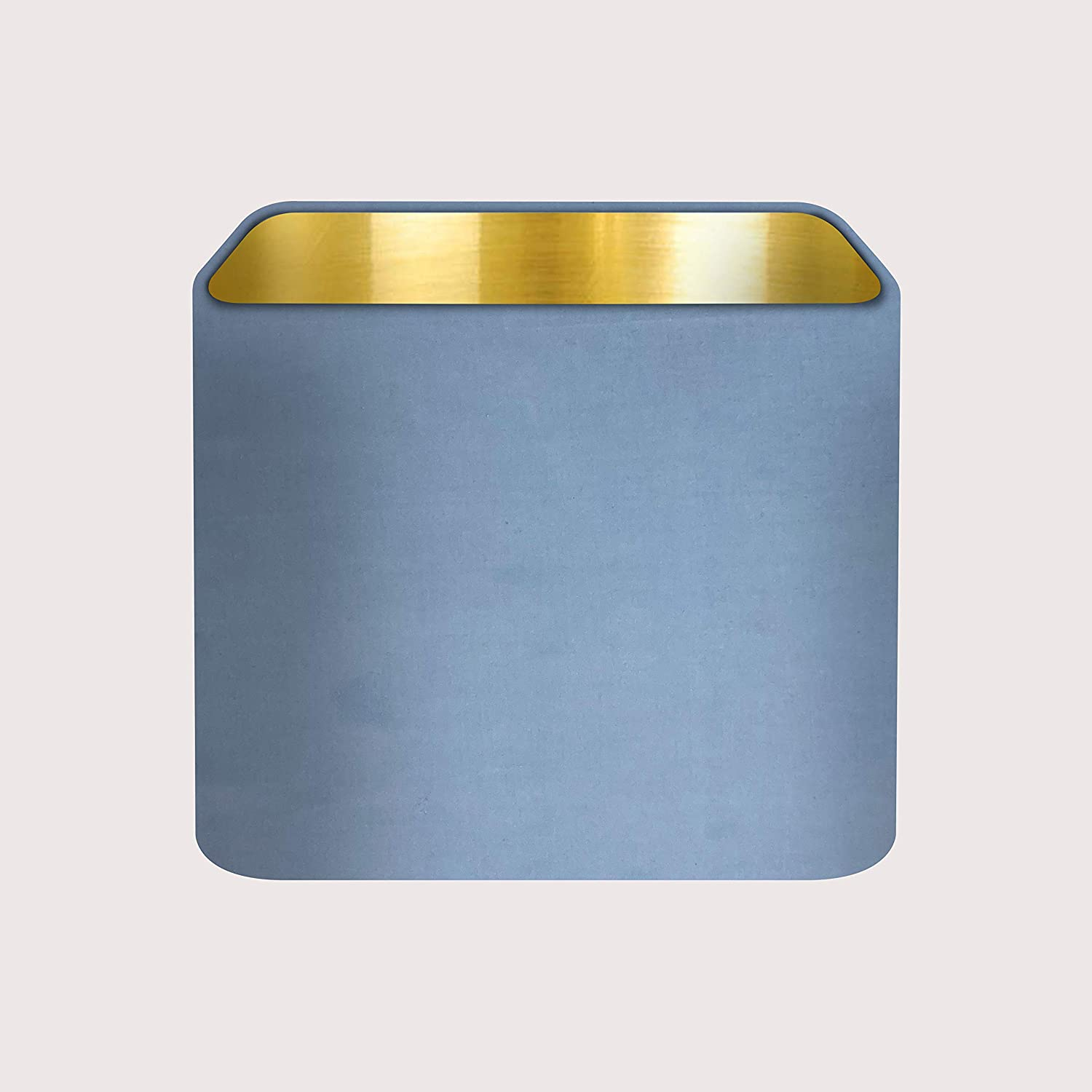 Rounded Square Teal Blue Velvet Fabric with a Brushed Silver Metallic Lining Lampshade Light Shade