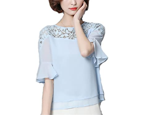 OUXIANGJU Women Summer Chiffon Blouse Short Sleeve Patchwork White Lace Tops Plus Size Shirts