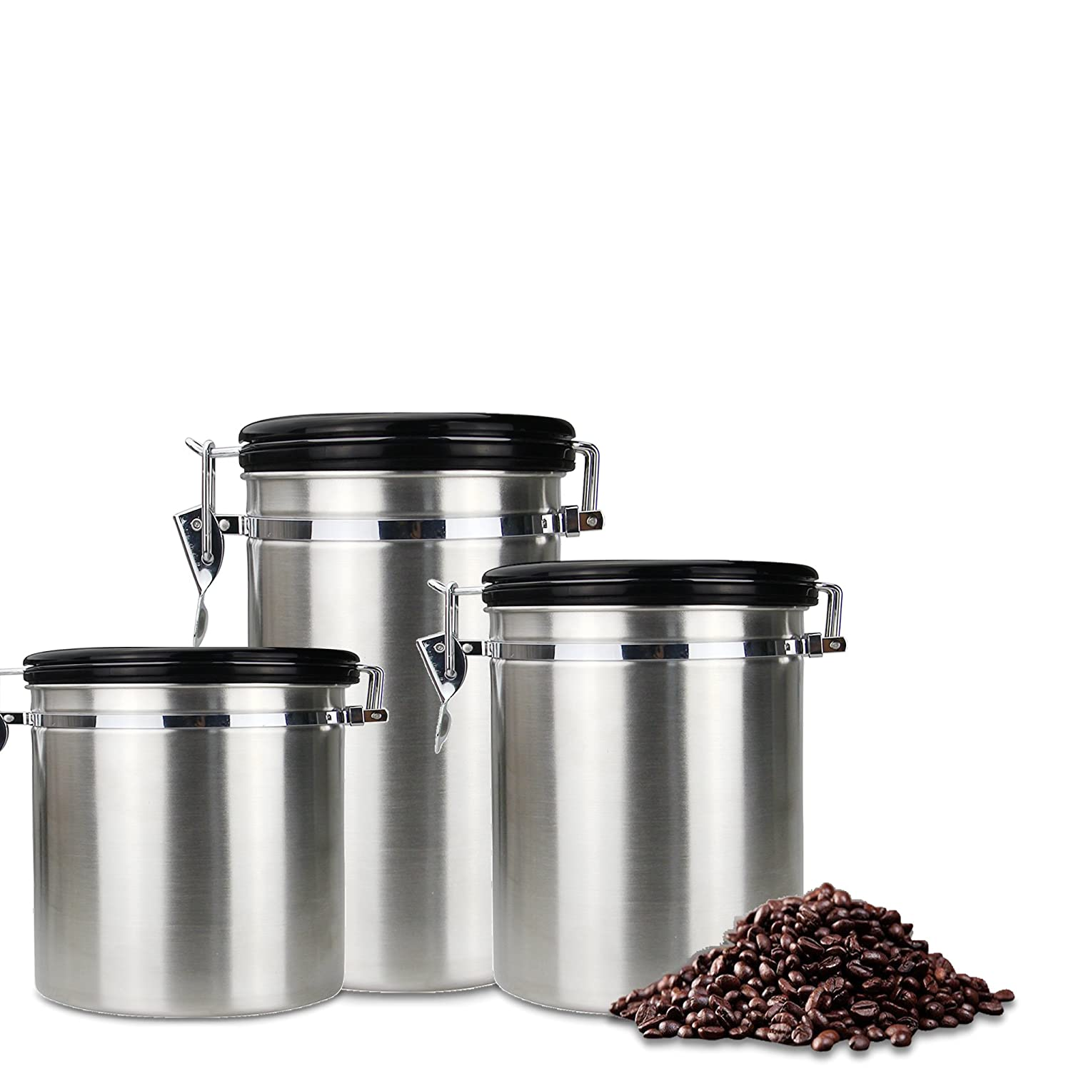 Airtight Coffee Canister Storage Cereal Dili Food Canister, Dried Fruit Storage Tank Airtight Lids Stainless Steel Coffee Canister Container with Valve-S-30.4 oz