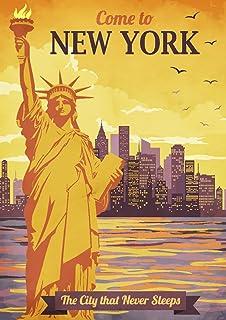 Art Deco Poster New York.New York City Nyc Big Apple Retro Art Deco Travel Art Print Poster