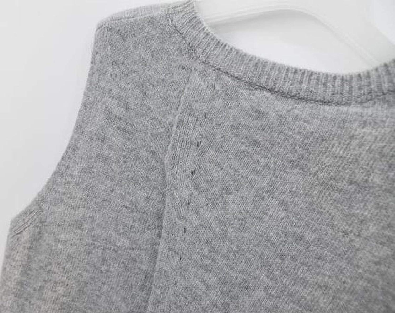 2019 Autumn Cashmere Sweater Vest Women Sleeveless O Neck Back Cross Split Knitted Pullover Vest Jumper Pull Femme