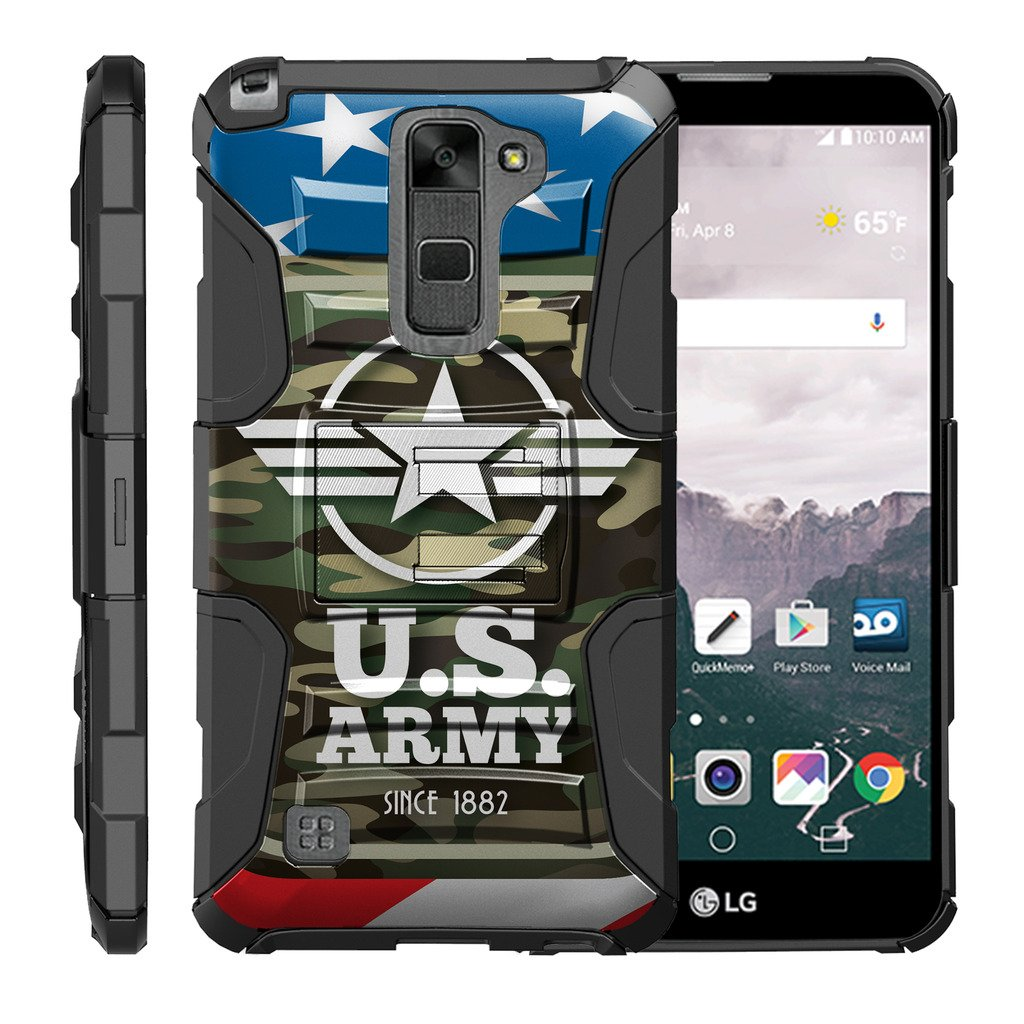 TurtleArmor | Compatible for LG Stylus 2 Case | LG G Stylo 2 Case [Hyper Shock] Rugged Hybrid Hard Shell Kickstand Fit Holster Clip Military War Robot Android Design - Army Camo Flag