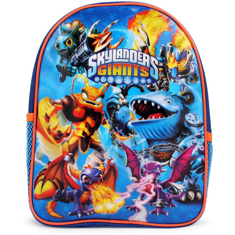 """Skylanders Giants Boys 16/"""" Large School Canvas Black Blue Backpack Bag"""