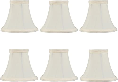 Upgradelights Set of Six – 4 Inch European Drum Style Mini Chandelier Lamp Shades in Eggshell Color 2.5x4x4