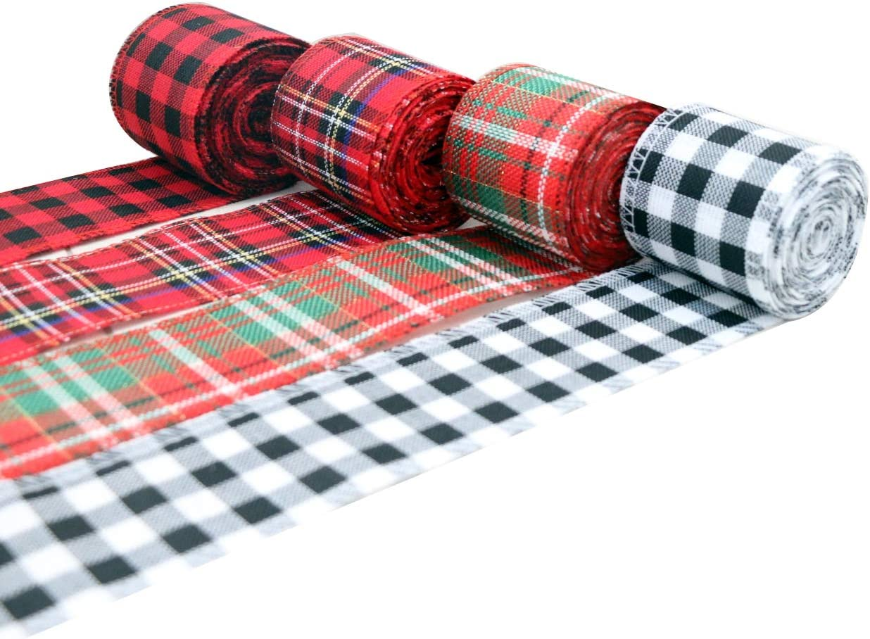 WAVEROSE 4 Rolls Christmas Wired Edge Ribbons 2.5 Inch 26 Yards White Black Plaid Ribbon for Christmas Craft Black Red Buffalo Check Ribbon for Xmas Holiday Decor DIY Gift Wrapping