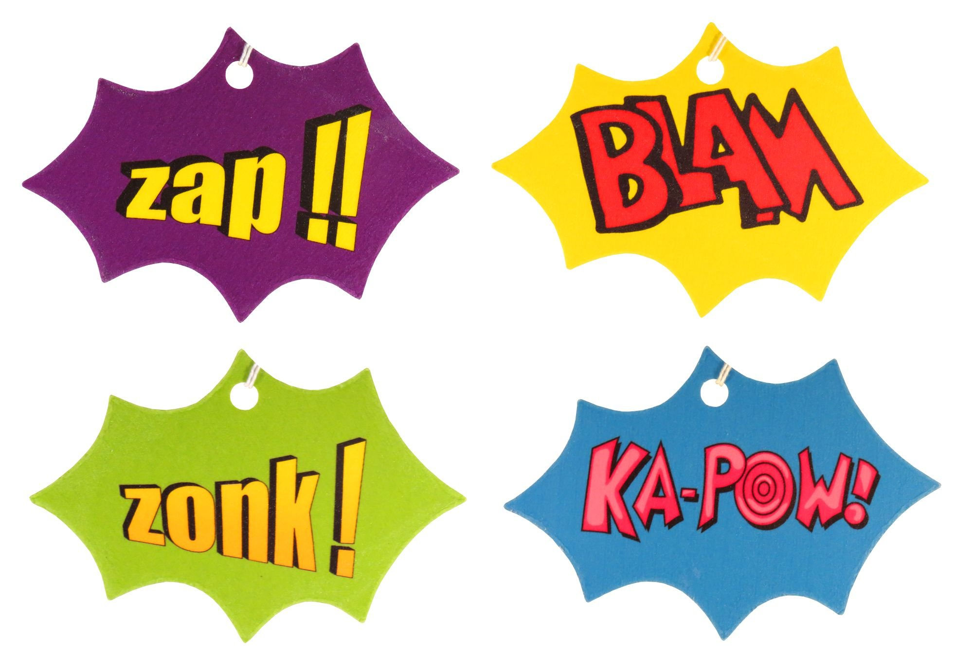 Set of Four Comic Book Explosion Air Fresheners, Cedarwood Essential Oil, Assorted