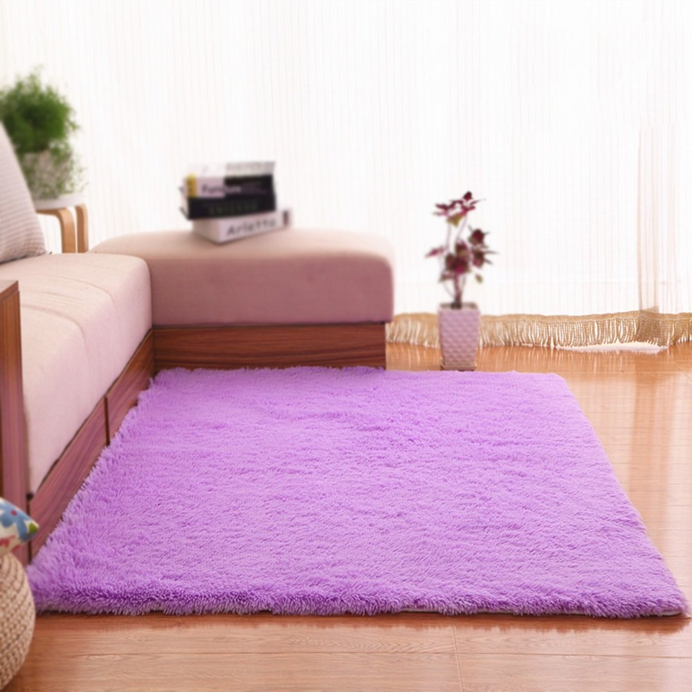 Purple thick anti-skid carpet / living room sofa coffee table bedroom carpet bed blanket / home decoration solid color carpet ( Size : 160200cm )