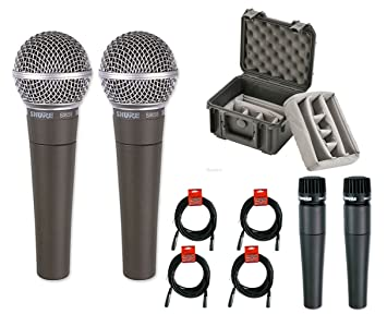 2x Shure SM58 + 2x SM57 Dynamic Vocal/Instrument Microphone + XLR
