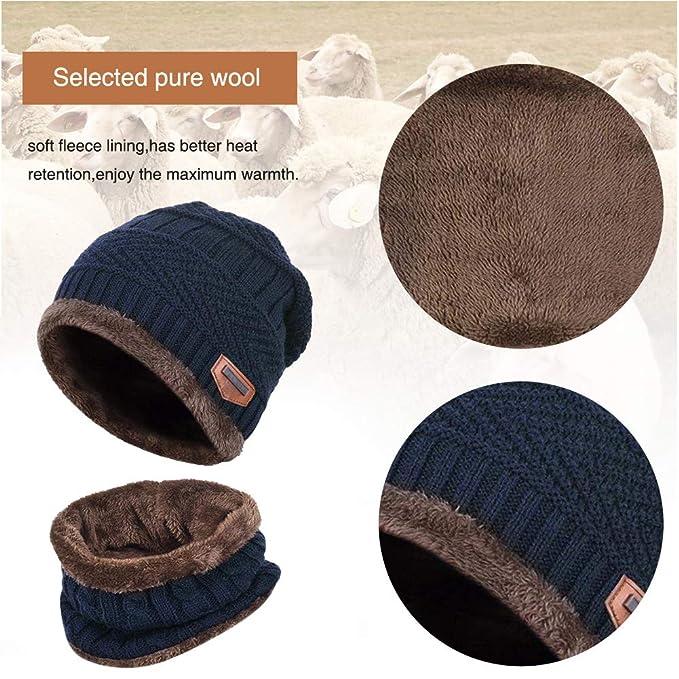 bd05e206a51f Hiver doublure polaire chaud tricoté chapeau cercle écharpe Set Slouchy  chaud sports de plein air chapeau ensembles pour enfants âgés de 6-14 ans  (Bleu ...