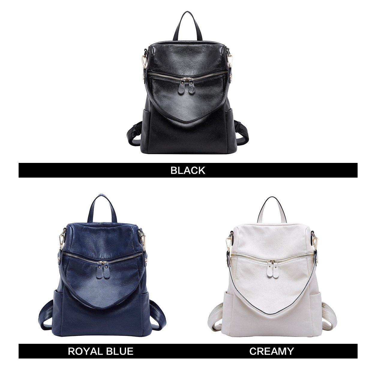 BOYATU Convertible Genuine Leather Backpack Purse for Women Fashion Travel Bag (Black) by BOYATU (Image #9)