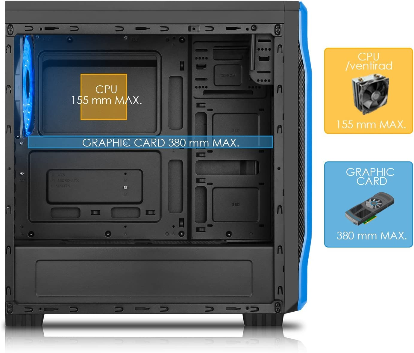 EMPIRE GAMING - Caja PC para Juegos DarkRaw Negra LED Azul: USB 3.0 y USB 2.0, 4 Ventiladores LED 120 mm + Controlador de Ventiladores, Pared Lateral 100% Transparente - ATX/mATX/mITX: Amazon.es: Informática