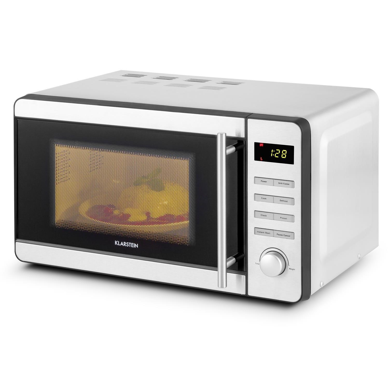 KLARSTEIN Stella Prima microondas - microondas con Parrilla, 800 W de microondas, 1000 W de Parrilla, 20 l de cámara de cocción, Seguro para niños, ...