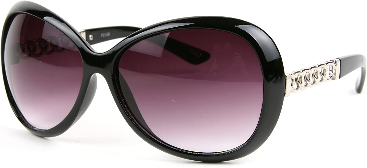 Black Frame-GradientSmoke lens Pop Fashionwear Designed Metal Frame Woman Fashion Oversized Sunglasses P2108