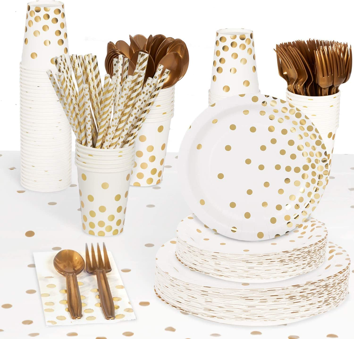 Decorlife Gold Paper Plates for 50, White and Gold Party Supplies for Bachelorette, Baby Shower, Birthday, Including 4 Pack Tablecloths, Gold Plates, Cups, Napkins, Cutlery, Straws