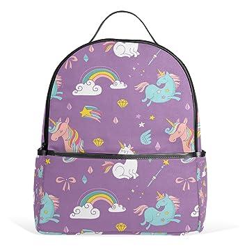 COOSUN Unicornio del arco iris y de las alas de hadas del patrón ligero lienzo Escuela de Niños Mochila bolsa de libros para niños niñas Pequeña Multicolor: ...