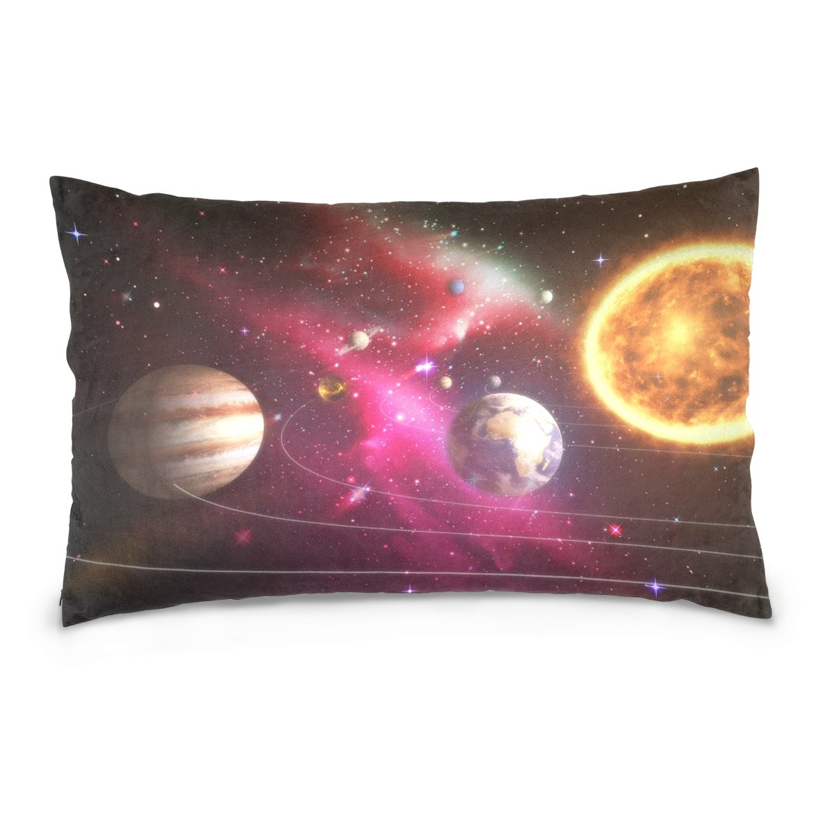 ALAZA Solar System Planet Universe Cotton Lint Pillow Case,Double-sided Printing Home Decor Pillowcase Size 16''x24'',for Bedroom Women Girl Boy