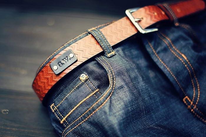 Custom Leather Belt Handmade Personalized Gift Brown Stain Chevron Pattern Full Grain