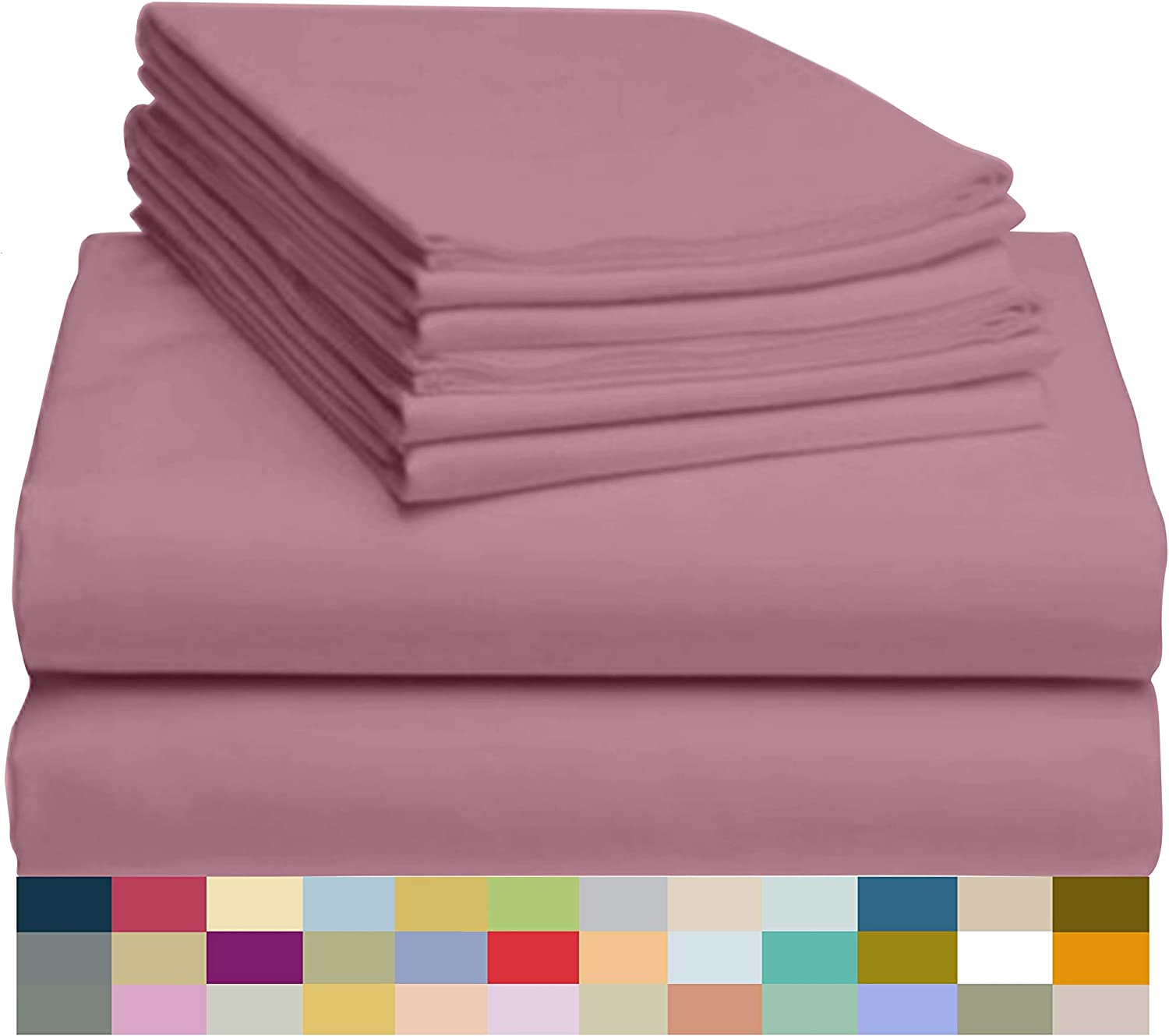 "LuxClub 6 PC Sheet Set Bamboo Sheets Deep Pockets 18"" Eco Friendly Wrinkle Free Sheets Hypoallergenic Anti-Bacteria Machine Washable Hotel Bedding Silky Soft - Light Plum Full"