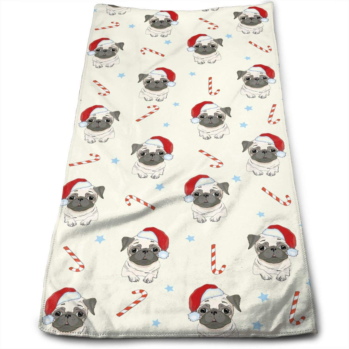 Pug Dog Pattern Classic Towels Bathroom Towels Sports Towel Microfiber Towels Hand Towels Perfect for Home, Bathrooms, Spa, Pool and Gym