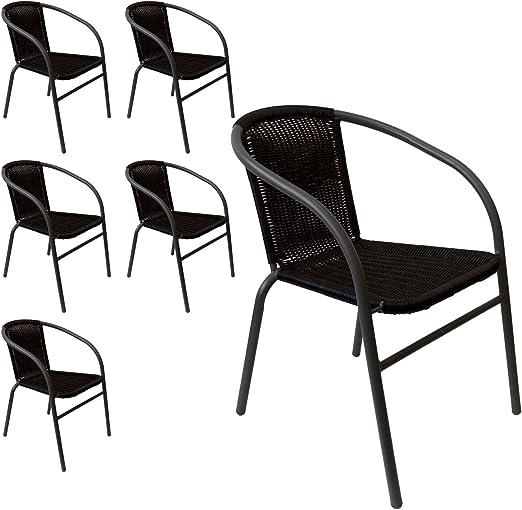 6 sillas apilables de jardín (silla apilable, estructura de tubos de acero pulverizado con Ratán Toldo Terraza de muebles de jardín muebles de jardín muebles negro/plata gris: Amazon.es: Jardín