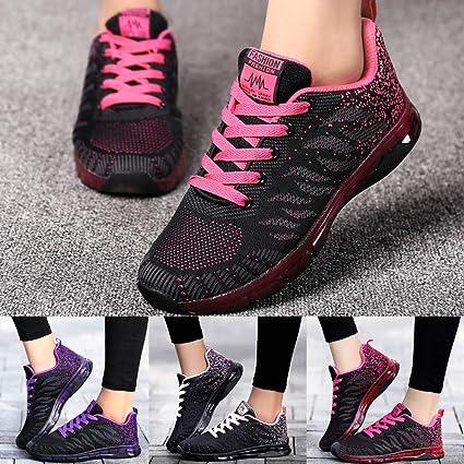 JiaMeng Flying Woven Shoes Air Cushion Sneakers Student Net Zapatos para Correr de Deportivos de Running para Mujer: Amazon.es: Ropa y accesorios