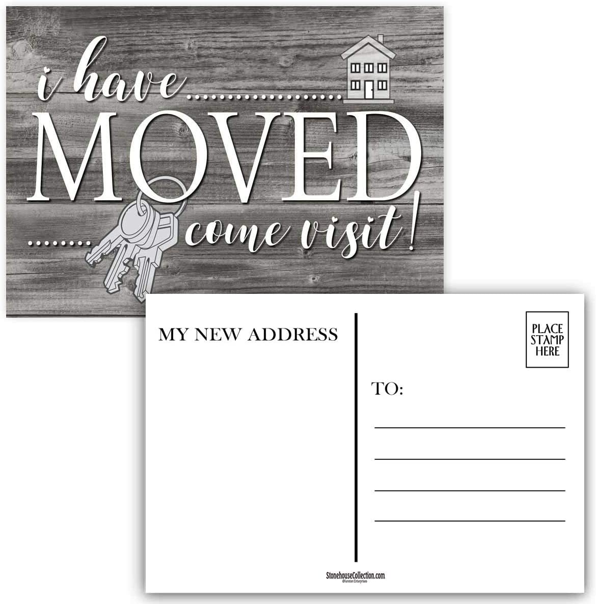 I Have Moved Postcards - 4 x 6 Moving Postcards - Change of Address Fill in The Blank Postcards (Rustic Keys)