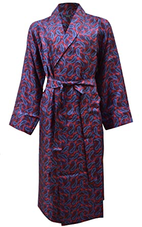 Men\'s Stylish Pure Silk Dressing Gown, Wine & Blue Paisley Print ...