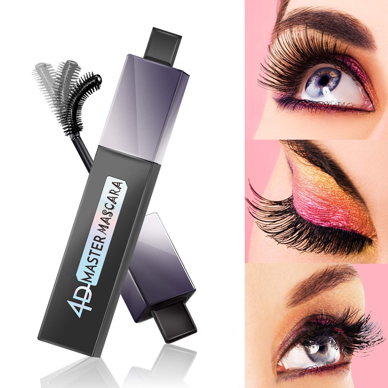 Mascara Waterproof Mascara, 4D Silk Fiber Lash Mascara Black for Longer, Thicker, Voluminous Eyelashes, Natural 4D Gel and Fibers Formula, 0.38 fl.oz Black