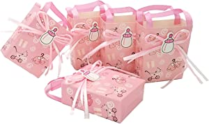 JZK 24 Pink Baby Shower Favour Bag Girl Sweet Bag Mini Party Paper Bag for Baby Girl Birthday Party Christening Baptism Newborn Party