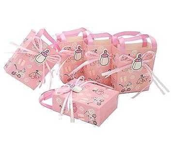 JZK 24 x Rosado baby shower favor bolsa niña bolsa dulce bolsa caja papel mini fiesta para fiesta cumpleaños bebé bautizo bautismo fiesta recién nacida: ...