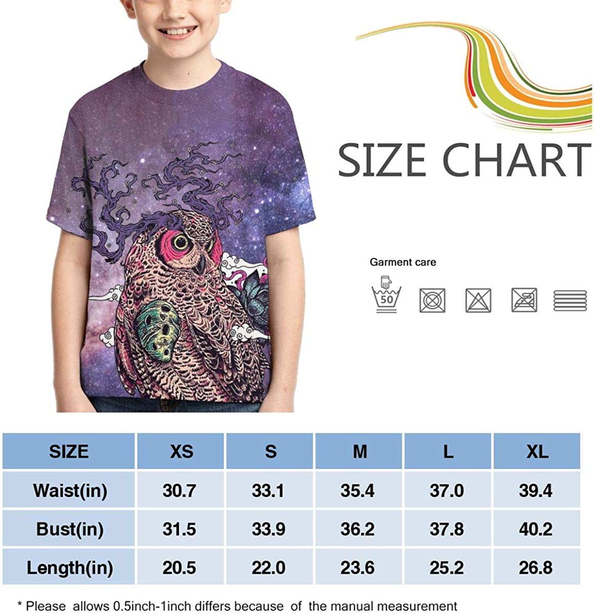 Regrowth Owl Youth//Kids Casual T-Shirt 3D Print Short Sleeve