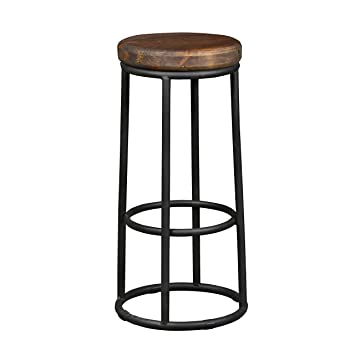 Wonderful Rustic Industrial Backless Black Metal Bar Stool Bar Height With Wooden  Seat   Includes Modhaus Living
