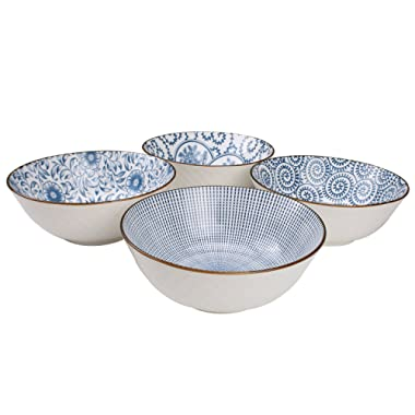 YALONG 40-Ounce Large Blue and White Porcelain Soup,Salad,Pasta Serving, Pho Bowls, Assorted Floral Patterns, Stackable Deep Bowl Set of 4