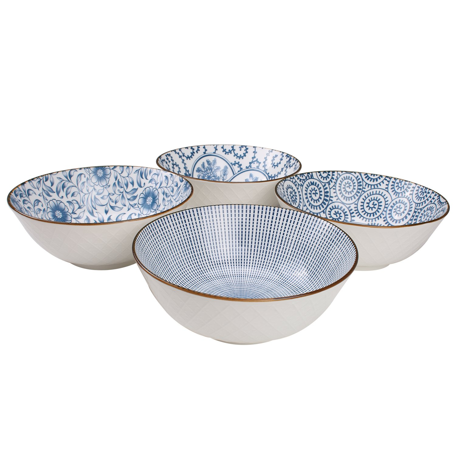 40-Ounce Porcelain Soup,Salad,Pasta Serving Bowls, Assorted Floral Patterns, Stackable Deep Bowl Set of 4