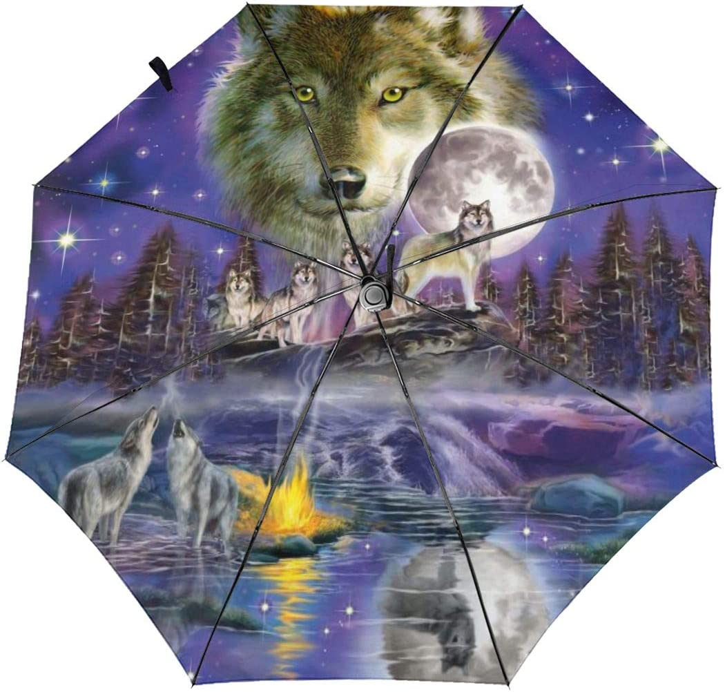 Watcher Howling Wolves Full Moon Sun Umbrella Compact Folding Travel Umbrella Auto Open And Close For Windproof Rainproof UV Protection Parasol