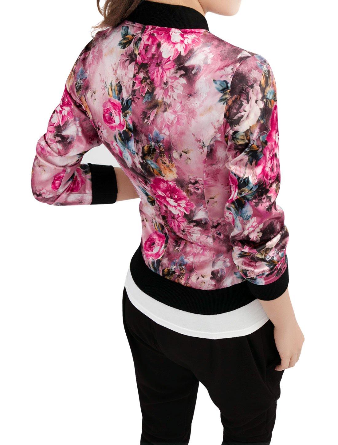 Allegra K Women's Long Sleeve Zip up Floral Print Casual Bomber Jacket Fuchsia S by Allegra K (Image #3)