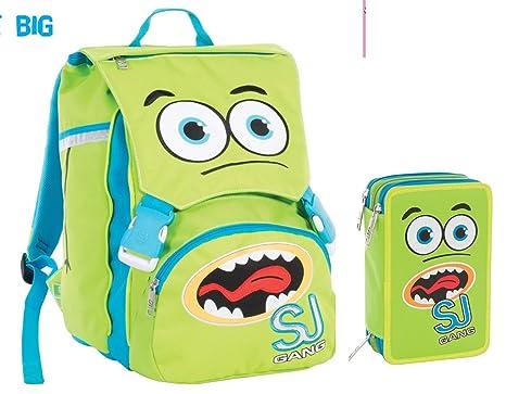b0267339a6 Zaino School Pack Verde Facce da SJ Seven: Amazon.it: Cancelleria e ...