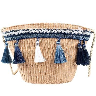 Amazon.com: Bolso de mujer con borlas de pajita tejida ...