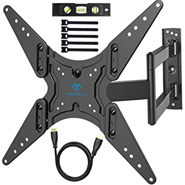 """PERLESMITH TV Wall Mount for 26 -55"""" TVs with Swivel & Extends 18.5""""- Wall Mount TV Bracket VESA 400x400 fits LED, LCD, OLED Flat Screen TVs up to 99 lbs - with HDMI Cable, Bubble Level & Cable Ties"""
