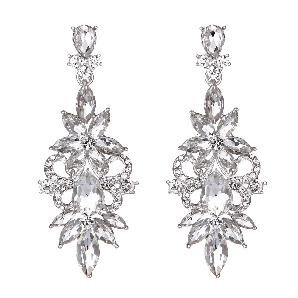 Youfir Bridal Wedding Crystal Chandelier Dangle Earrings for Prom Bridesmaids(Clear)