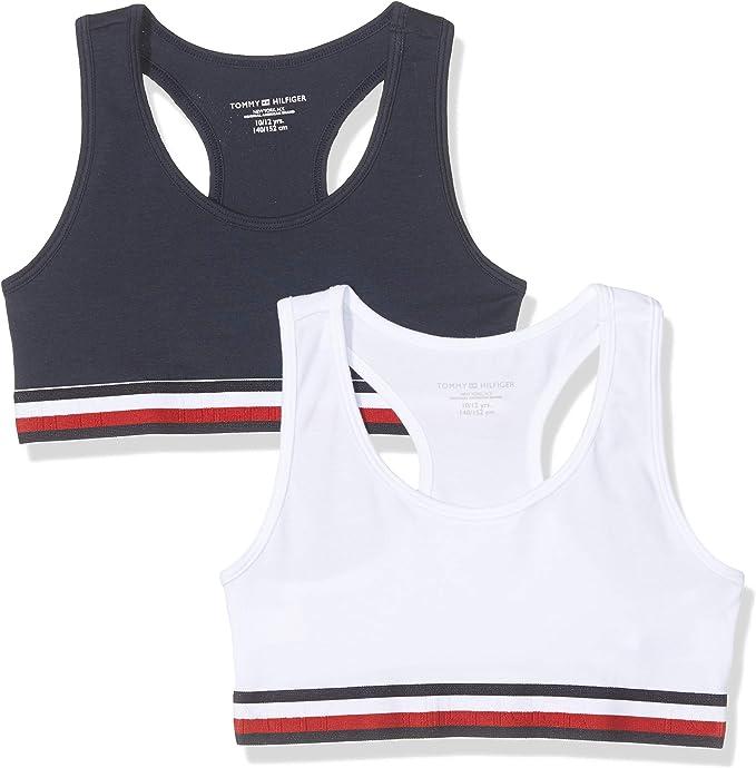 Tommy Hilfiger 2p Racerback Bralette Sujetador, Multicolor (Multi 069), Talla única (Talla del Fabricante: 8-10) (Pack de 2) para Niñas: Amazon.es: Ropa y accesorios