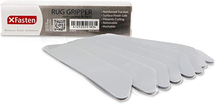 Sliding and Slipping XFasten Anticurling Rug Gripper 8-Pack Anti-Slip for Area Rug and Carpet Flooring Corners; Flattens Rugs and Keeps Carpets from Curling