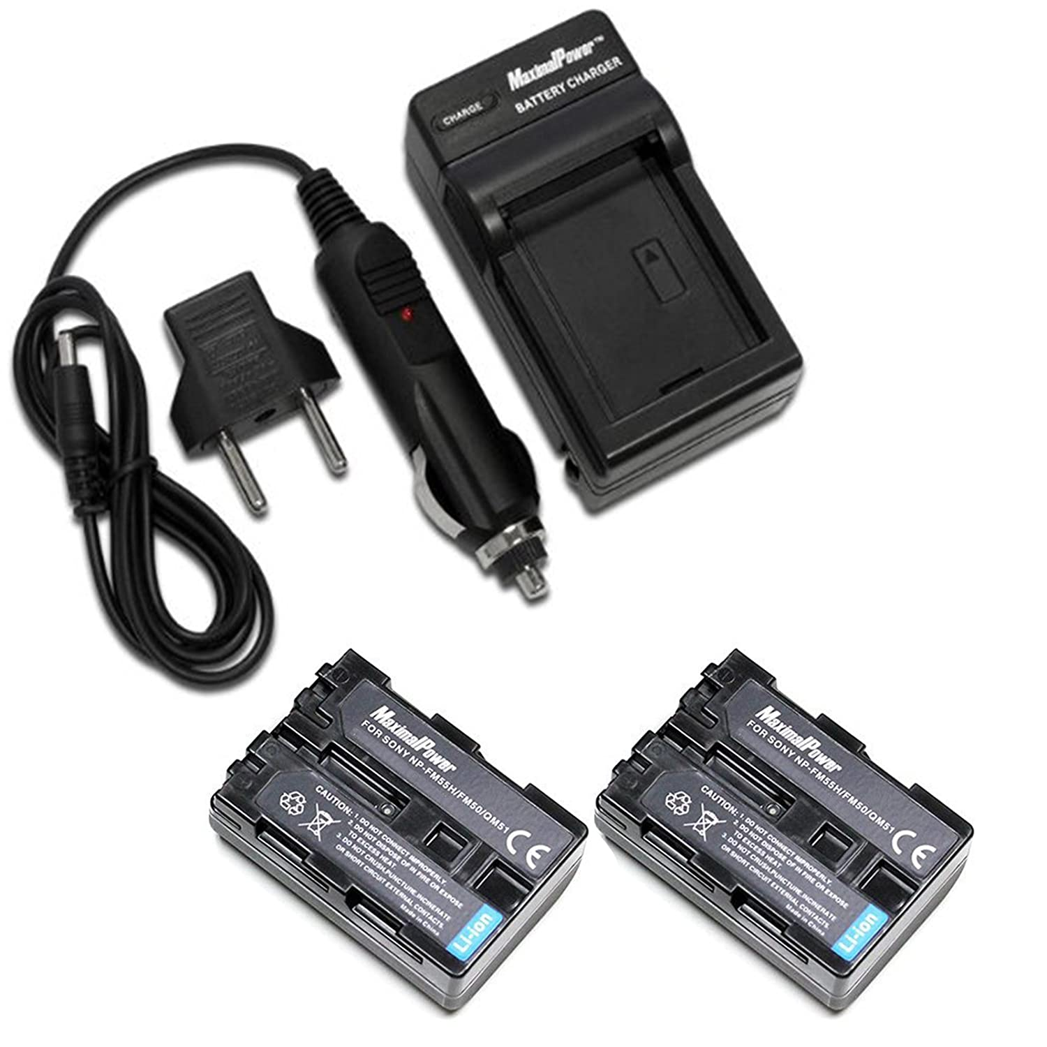Maximal Power 2X Battery 2100mAh + Charger for Sony NP-FP50, FP70, FP80, FP90, FH50, FH70, FH100, NP-FV30, NP-FV70, NP-FV100 with USB Port MaximalPower