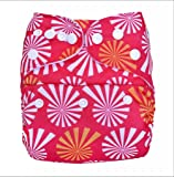 Bumberry Pocket Diaper (White Flowers on Pink)  and 1 Microfiber Insert