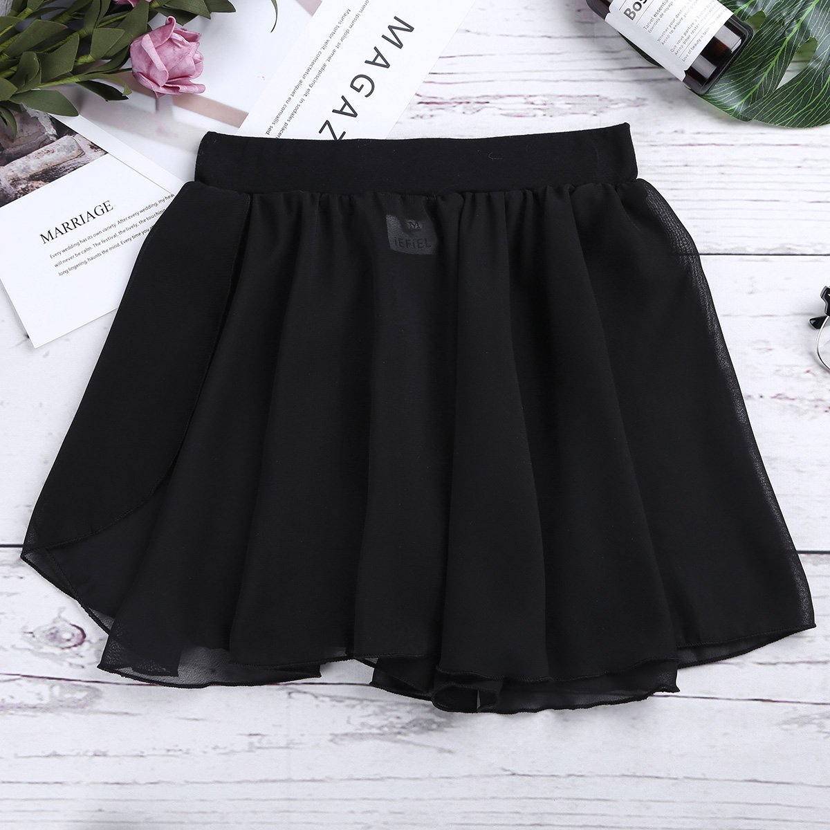 Freebily Kids Girls Dance Basic Classic Chiffon Mini Pull-On Wrap Skirt Black 7-8 by Freebily (Image #5)